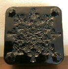 Vintage Footed Black Glass Dish Square BEES BEEHIVE THEME