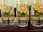 3 Vintage Anchor Hocking glasses Yellow and White flowers Hildi
