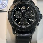 MOVADO MEN'S SERIES 800 CHRONOGRAPH BLACK DIAL WATCH LEATHER BAND