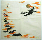 Vintage Halloween Crepe Paper Luncheon Napkin Witch Silhouette Bats