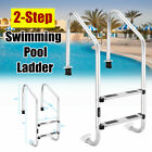 2 Step Swimming Pool Ladder Ground Pools Heavy Duty Stainless Steel w Legs US