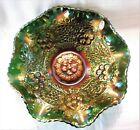 Fenton Art Glass Emerald Marigold Carnival Glass Bowl NIB 3x9