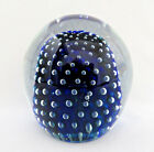 Vintage Murano Italy Cobalt Blue  Controlled Bubbles Art Glass Paperweight