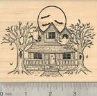 Halloween Haunted House Rubber Stamp Featuring Ghosts Bats and O19502 WM