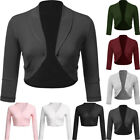 Fashion Women Pure Color Open Front Cropped Solid Mini Office Work Cardigan