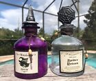 Glass Potion Bottles Vintage Apothecary Jar Witches Brew Halloween Decor 2PC New