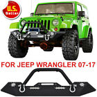 Front Bumper Unlimited Led Lights Winch Plate D-ring For 07-18 Jeep Wrangler Jk