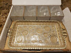 Vintage Anchor Hocking 8-Piece Serva Snack Set - Bubble Glass Tray Cups MCM Box