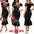 Womens Sexy Off Shoulder Floral Midi Dress Lady Party Short Sleeve Bodycon Dress