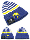 Golden State Warriors New Era Beanie Toque Cuffed Stripe Chill Blue Gold Hat Cap