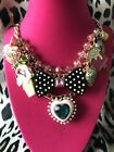 Betsey Johnson Candyland Candy Ice Cream Puffy Heart Dots Bow Popsicle Necklace