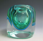 VINTAGE FLAVIO POLI SOMMERSO GREEN BLUE GLASS VASE CANDLE VOTIVE MURANO ITALY