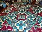 Vintage Native American Indian Pattern Material Quilt Comfort Blanket 86 x 73