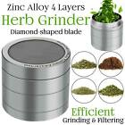 Herb Grinder Crusher for Tobacco 4 Piece 2 Metal Hand Muller Spice Silver 4pc