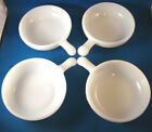 Set of 4 Bowls Glasbake White Milk Glass With Handle J2663 11 oz Texture @19