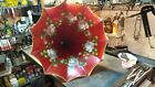 Antique Edison Cylinder Phonograph Red Floral Horn The Best I Have Seen T T Co