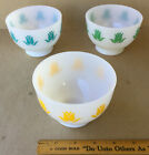FIRE-KING COTTAGE CHEESE FOOTED TULIP BOWLS,GREEN,YELLOW,TURQUOISE FLOWER PRINT