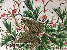 VTG Christmas Tablecloth Homemade Pine Cones Red Berries 51 X 70