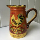 Tall Large Orange Rooster Sunflowers Chicken Pitcher Decoration New NWT Exc