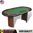 10 Player Wood Poker Table Oval Card Casino Game Room with Dealer Area Chip Tray