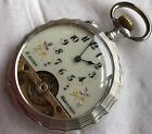 Hebdomas 8 Days Pocket Watch Siver Carved Case 505 mm in diameter open face