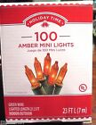 100 Amber Mini Lights Green Wire Holiday Christmas Xmas 215 ft Lighted Length