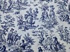 Waverly Rustic Toile Navy White Print Drapery Upholstery 54 Fabric by the Yard