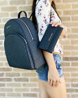 Michael Kors Large Abbey Backpack Admiral Blue MK + Trifold Wallet