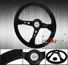 350mm Suede Leather Red Stitching Black Center Button Steering Wheel 2 Circle