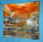 11+ Square Art Glass Hand Made Orange Purple Platter Serving Plate dish