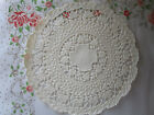 6 pcs VTG 5 INCH ROUND OFF WHITE IVORY PAPER DELICATE FLORAL LACE leaf DOILY