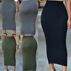US New Women Casual High Waist Skirt Long Bodycon Stretchy Long Pencil Skirts