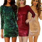 Fashion Womens Sequin Dress Sexy V-neck Backless Sundress Luxury Party Club Wear