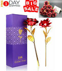 2Pcs 24K Gold Plated Rose Flower Valentines Day Birthday Romantic Gift With Box
