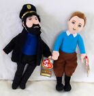 "Adventures of TINTIN plush toy Ty Beanie Baby stuffed CAPTAIN HADDOCK 10"" PAIR"