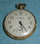 1920s RR 10K GOLD PLATED SOUTH BEND WATCH CO STUDEBAKER POCKET WATCH w HOLDER