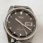 VINTAGE WATCH DESIGNER SEIKO AUTOMATIC BLACK FACE DAY DATE COLLECTABLE RETRO