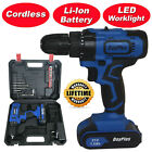 21 Volt drill 2 Speed Electric Cordless Drill Driver with Bits Set  Battery