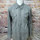 GUESS JEANS VINTAGE COTTON LONG SLEEVE PEARL SNAPPED CASUAL SHIRT SIZE M A66 02
