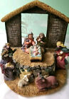 Christmas nativity scene wise men Ceramic Statue display glass manger Christian