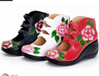 Ladies Vogue Leather Wedge Vintage Heels Sandals Floral Printed Platform Shoes