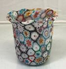 Vintage 36 Murano Art Glass Ruffled Vase With Millefiori Made In Italy