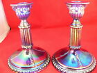 IMPERIAL CARNIVAL GLASS COBALT CANDLESTICKS  RAM HEAD