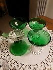Vintage Set Of 4 Anchor Hocking FOREST  Green Boopie  Glasses 3 5/8
