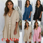 Women's Summer Boho Dress Tops Ladies Holiday Beach Casual Loose Shirt Sundress