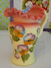 FENTON ART GLASS BURMESE CHILDS MINI PITCHER PANSY DECORATED