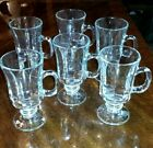 6 Vintage Footed Libbey Irish Coffee Cups - Pedastal Clear Glass Mugs