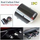 1x Real Carbon Fiber Glossy Black Car Exhaust Tip Muffler Inlet 67mm Outlet 89mm