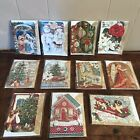 Christmas Cards Dimensional Design Snowman Nativity Children Punch Studio NEW