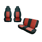 Rugged Ridge 1329153 Black Red Seat Cover Kit 1991 1995 Jeep Wrangler YJ 2